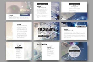 Set of 9 vector templates for presentation slides. DNA molecule structure on blue background.