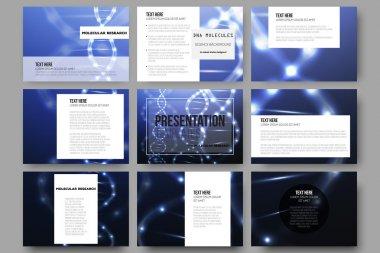 Set of 9 vector templates for presentation slides. DNA molecule structure on dark blue background.