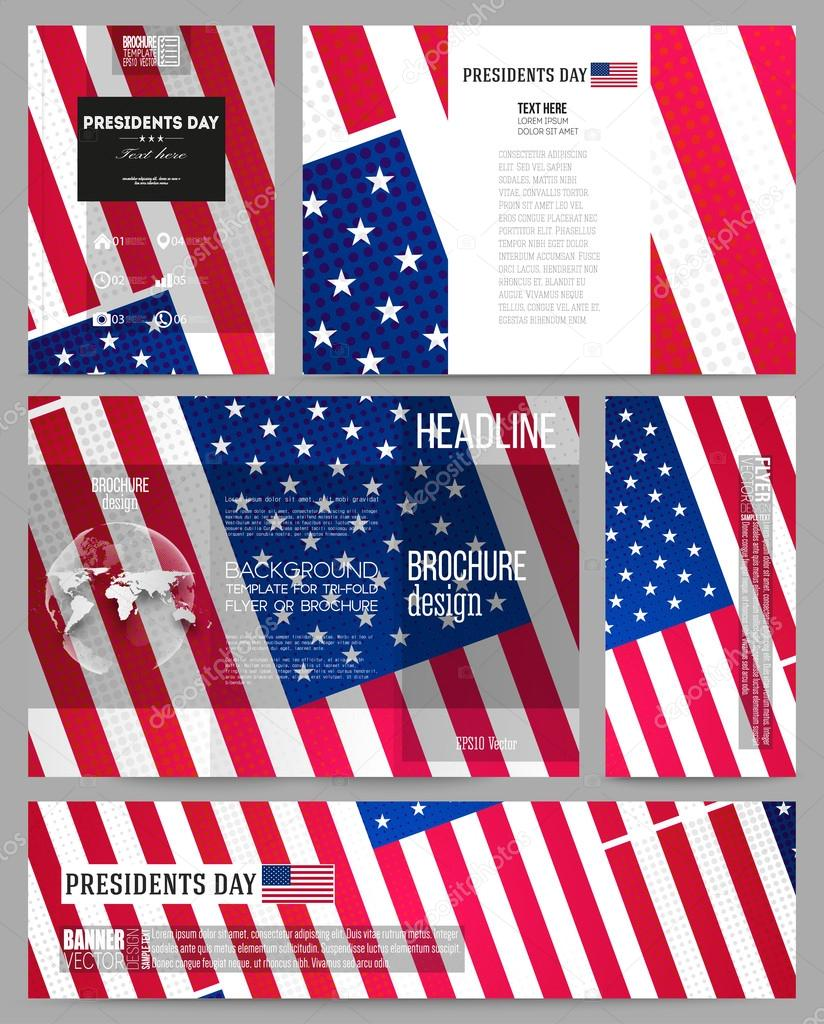 set of business templates for presentation brochure flyer or booklet presidents day background with american flag abstract vector illustration vector