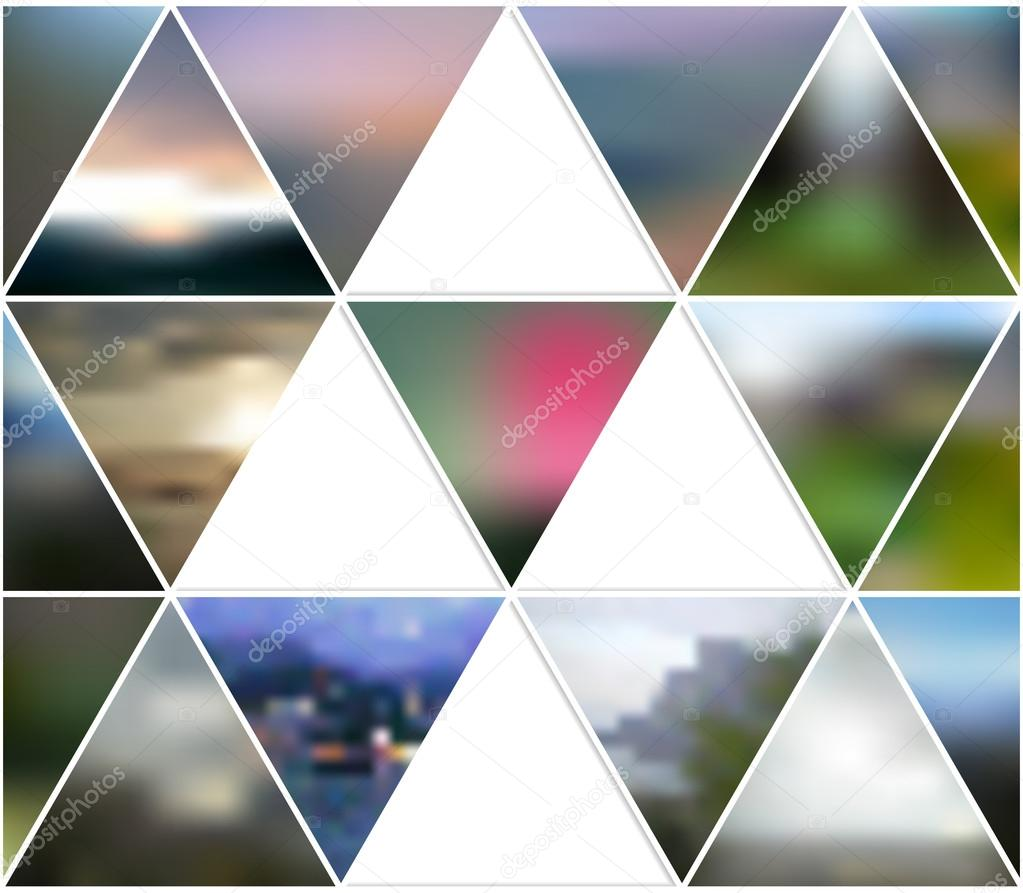 Abstract multicolored background of blurred nature landscapes, geometric vector, triangular style illustration