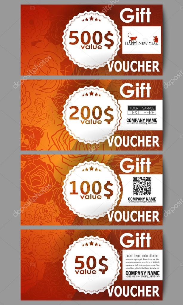 Set Of Modern Gift Voucher Templates Chinese New Year Background