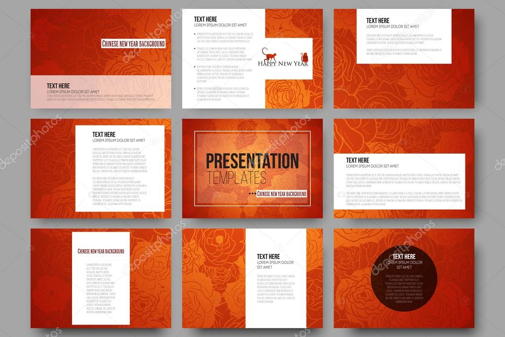 set of 9 templates for presentation slides. chinese new year, Presentation templates