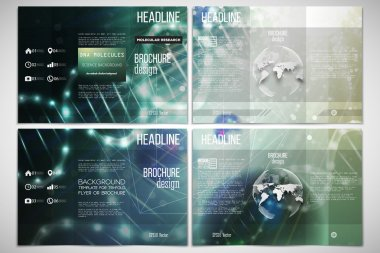 Vector set of tri-fold brochure design template on both sides with world globe element. DNA molecule structure, green background.