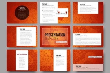Set of 9 templates for presentation slides. Chinese new year background. Floral design with red monkeys, vector illustration