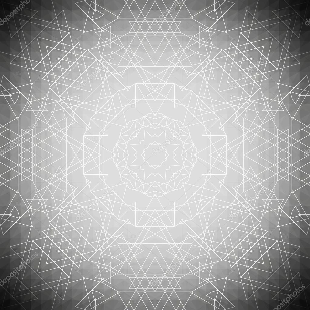Sacred geometry, triangle design gray background. Abstract vector illustration