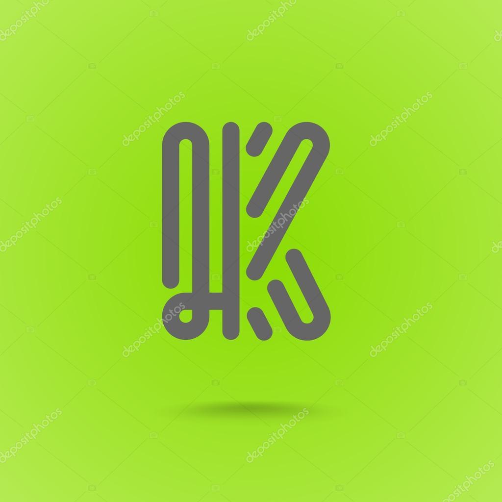 Vector Grafische Lijn Font Logo-Element. Letter K