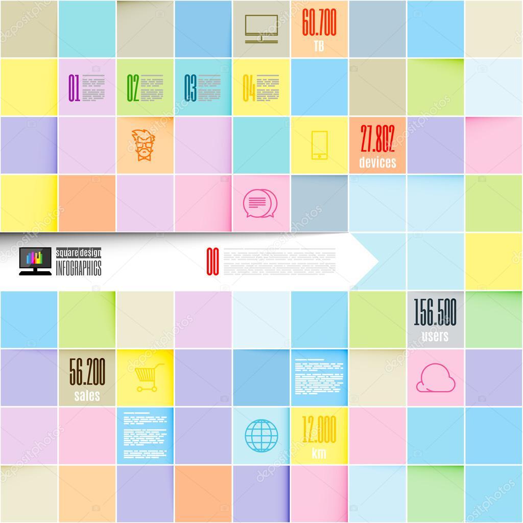 Vektor Inofographic Vorlage Quadrate Hintergrund — Stockvektor ...