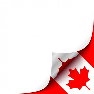 Curled up Paper Corner on Canadian Flag Background.Vector Illustration