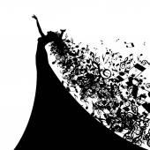 Silueta zpěvačka s vlasy noty