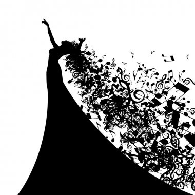 Silhouette of Singer with Hair Musical Notes.