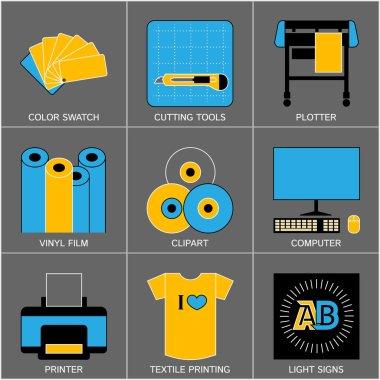 Set of Flat Line Design Icons for Sign-making Visualisation.  Vector Illustration