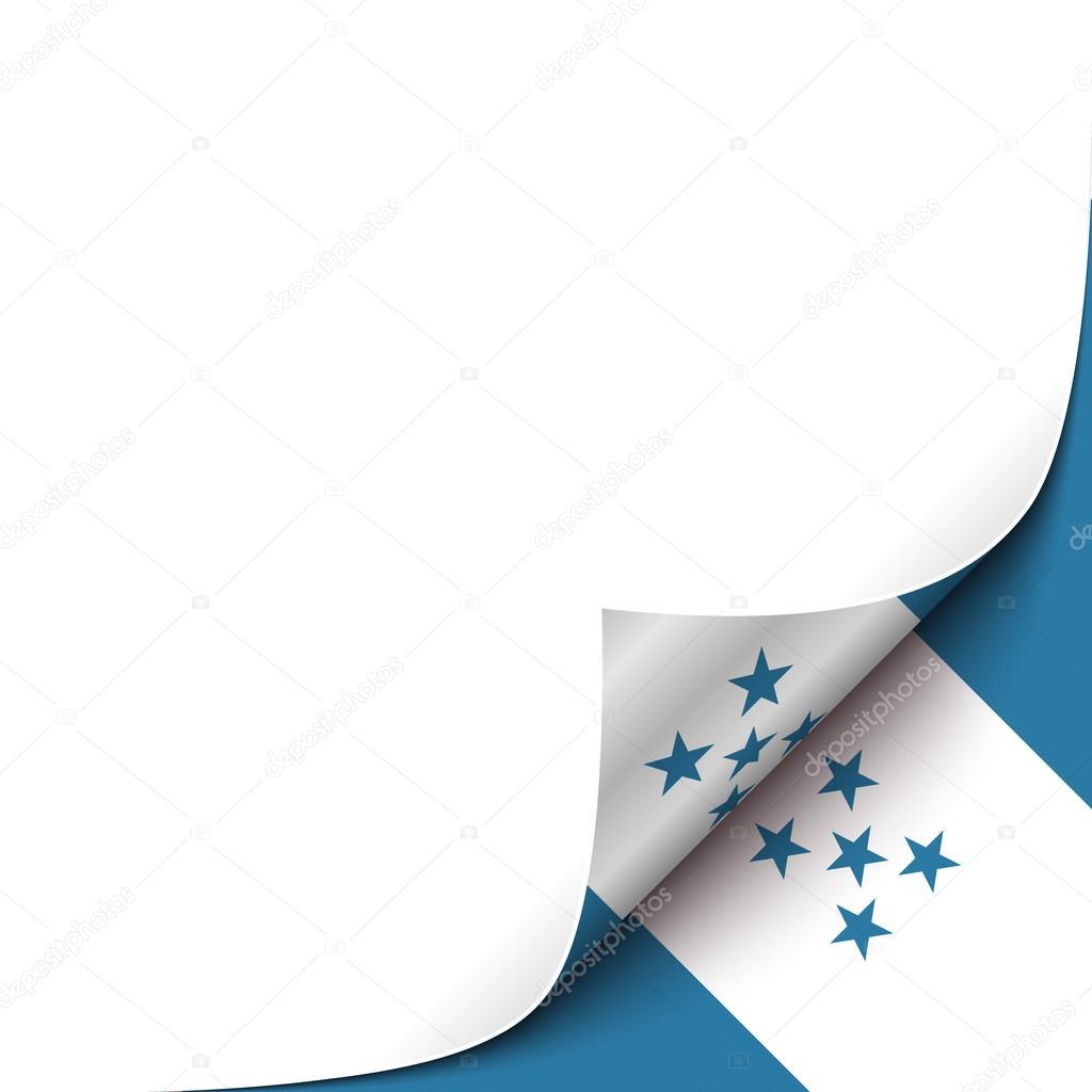 Rizado el papel de esquina con el fondo de la bandera de Honduras ...