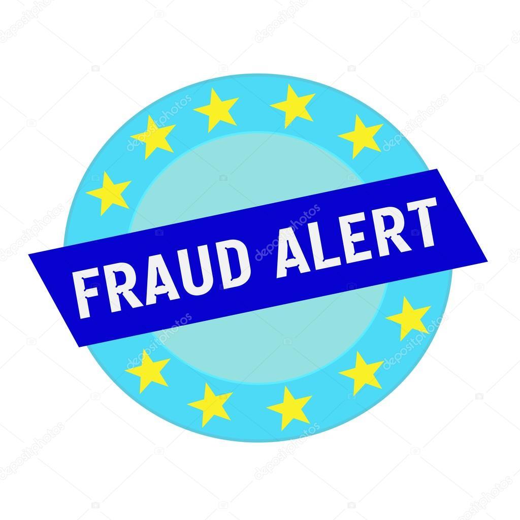blanco alerta fraude fraseología en círculo y rectángulo azul ...