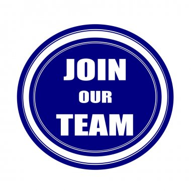 Join our team white stamp text on blueblack