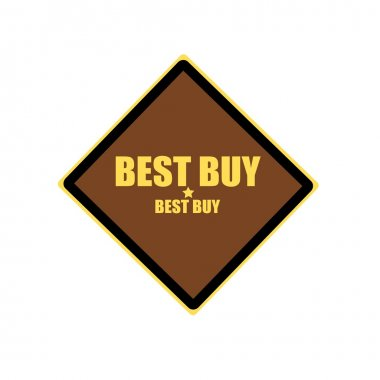Best buy yellow stamp text on brown background