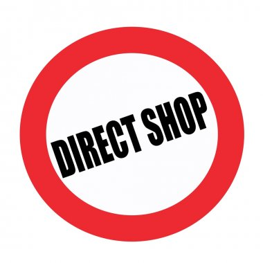 Direct shop black stamp text on white