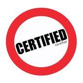 certifikovaný černé razítko text na bílém pozadí