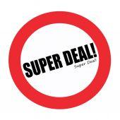 Testo di timbro nero Super Deal su bianco