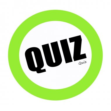 QUIZ black stamp text on green
