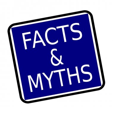 FACTS & MYTHS white stamp text on buleblack background