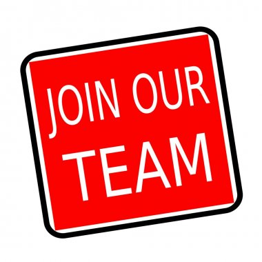 Join our team white stamp text on red background