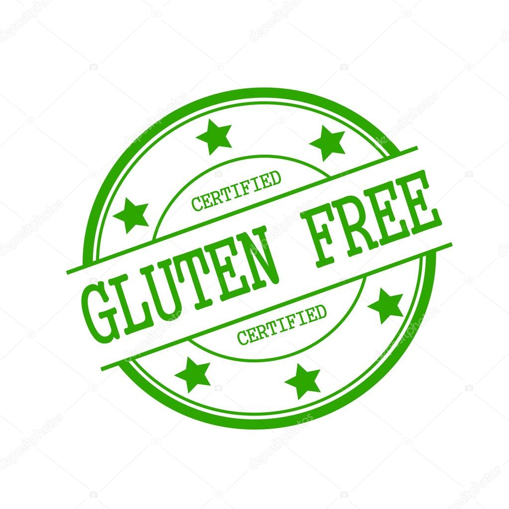 certified gluten free green stamp text on green circle on a white