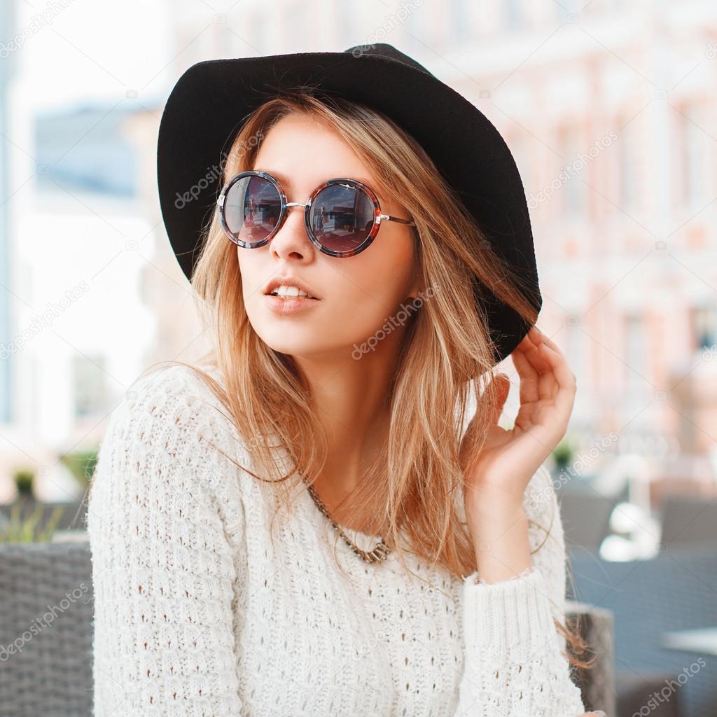 E Con Rotondi Moda Occhiali Nero Piuttosto Sole Da Cappello Di Donna R6anaA