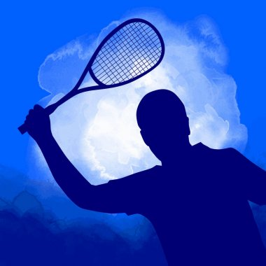 Squash sport graphic with blue watercolor background.