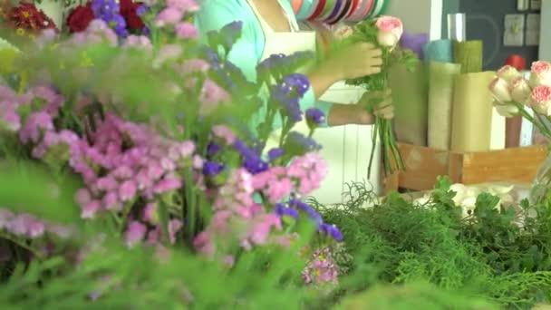 Květinářství, uspořádání růžové růže Kytice květinářství