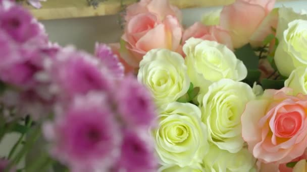 Flower shop, various beautiful flowers, purple mums, pink roses, white roses