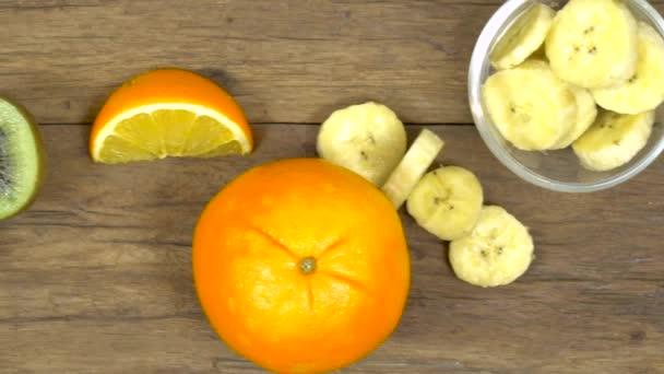 Various fruits, fresh fruits, banana orange blueberry strawberry, slow
