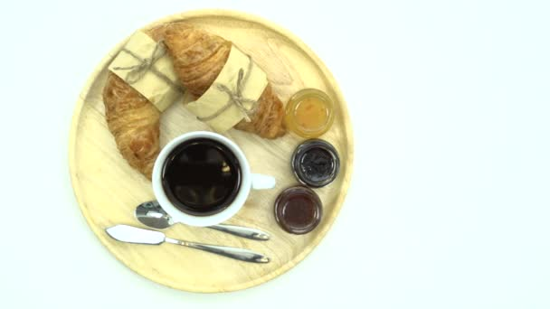 Snídaně, snídaně set, zásobník na kávu, croissanty, džemy, připravené k jídlu, prostor pro text
