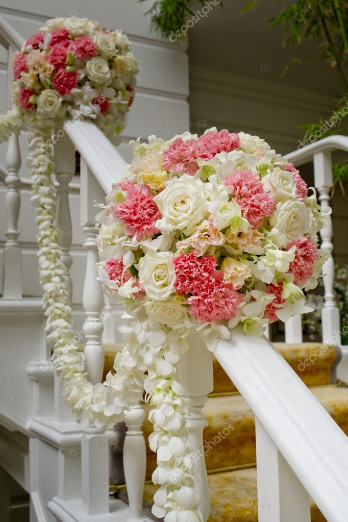 Beautiful wedding flower decoration at stairs stock photo beautiful wedding flower decoration at stairs photo by art9858 junglespirit Choice Image