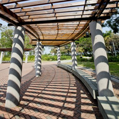 Covered walkway in the park on a Sunny Day