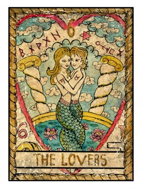 lovers old tarot card