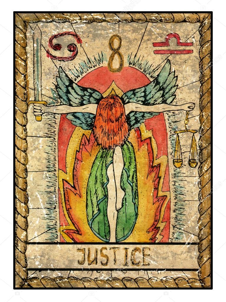 Justice old tarot card — Stock Photo © Samiramay #100541782