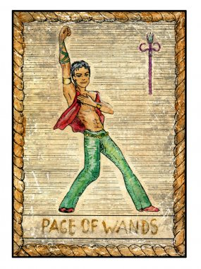 Page of wands illustration