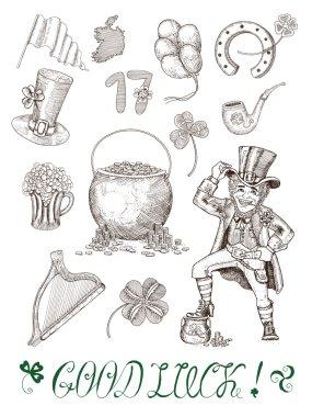 set with patricks day symbols