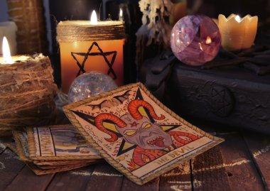 Tarot cards, magic crystals and candles