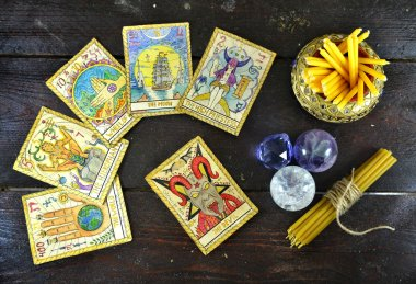 Tarot cards, magic stones and candles