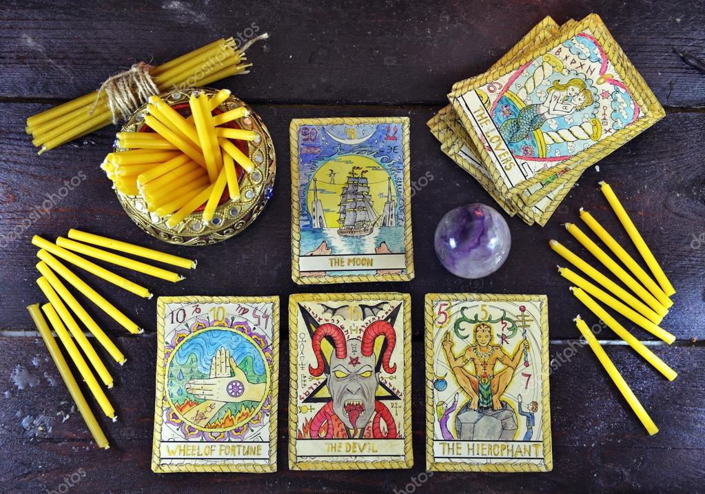 Candles Crystal And Tarot Cards Stock Photo Samiramay 102955686