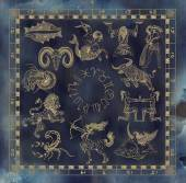 Koláž s zlatými zvěrokruh symboly