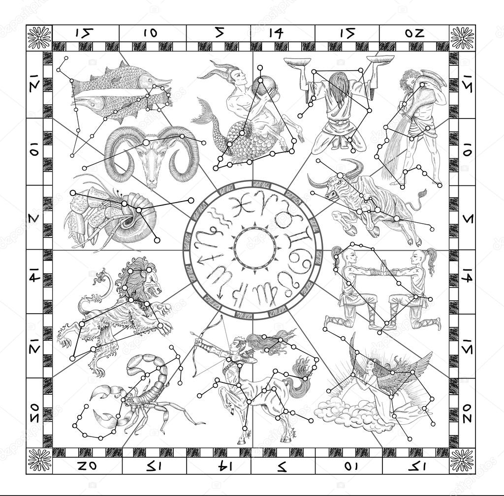 Calendrier Du Zodiaque.Charte Graphique Avec Les Signes Du Zodiaque Photographie