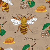 Fotografie Summer pattern with honeycombs and bees