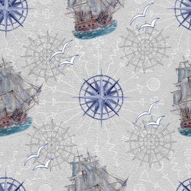Nautical background with blue compass, gulls