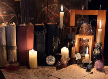 Witch table with magic objects