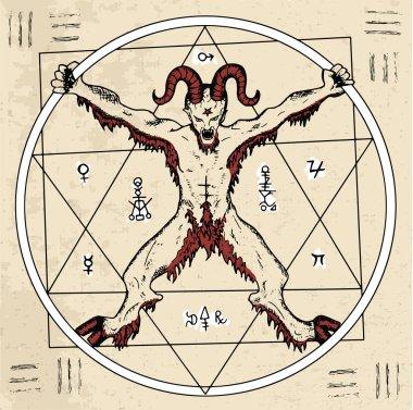 Magic circle with Devil or demon and pentagram