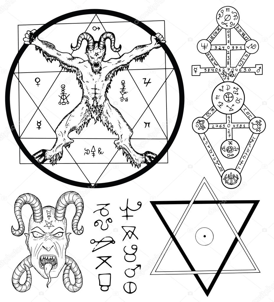 Magic set with devil satan pentagram stock vector samiramay magic set with devil satan pentagram and mystic symbols collection of sketch illustrations with mystic and occult hand drawn symbols buycottarizona