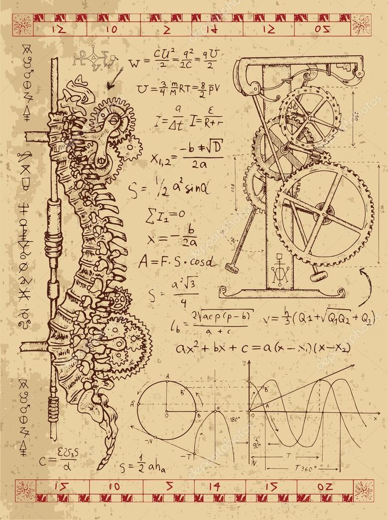 Conjunto de dibujos con mecanismo en la columna vertebral humana ...