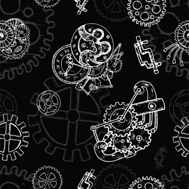 Steampunk seamless background with mechanism